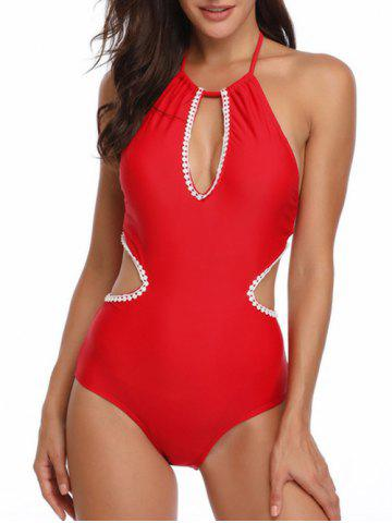 Cut Out Crochet Trim Knotted Swimsuit