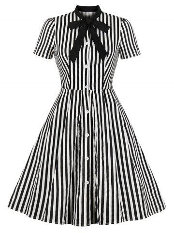 Button Up Tie Striped Vintage Dress