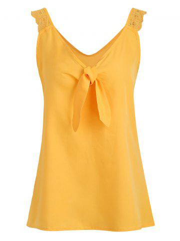 Lace Panel Plunging Knotted Tank Top