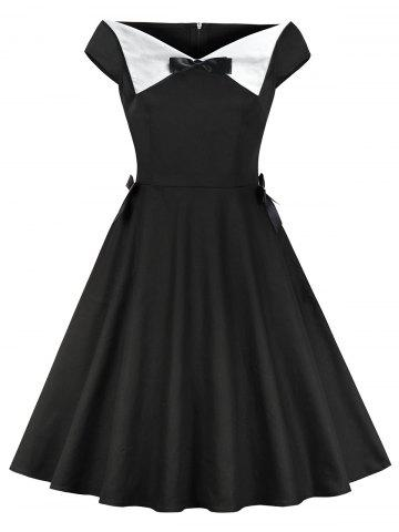 Satin Bowknot Boat Neck Vintage Dress