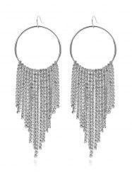 Rhinestone Decoration Tassel Dangle Earrings -