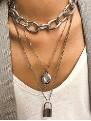 Link Chain Lock Layered Necklace -