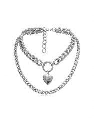 Link Chain Heart Layers Necklace -