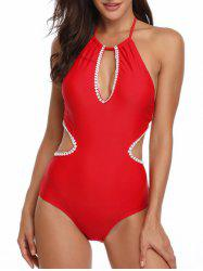 Cut Out Crochet Trim Knotted Swimsuit -