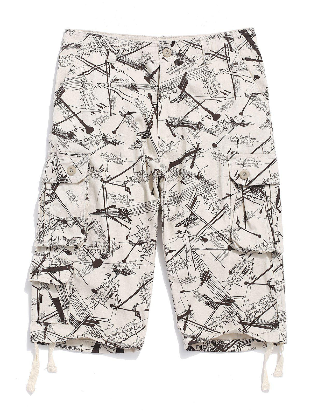 Fancy Graphic Printed Casual Cargo Shorts
