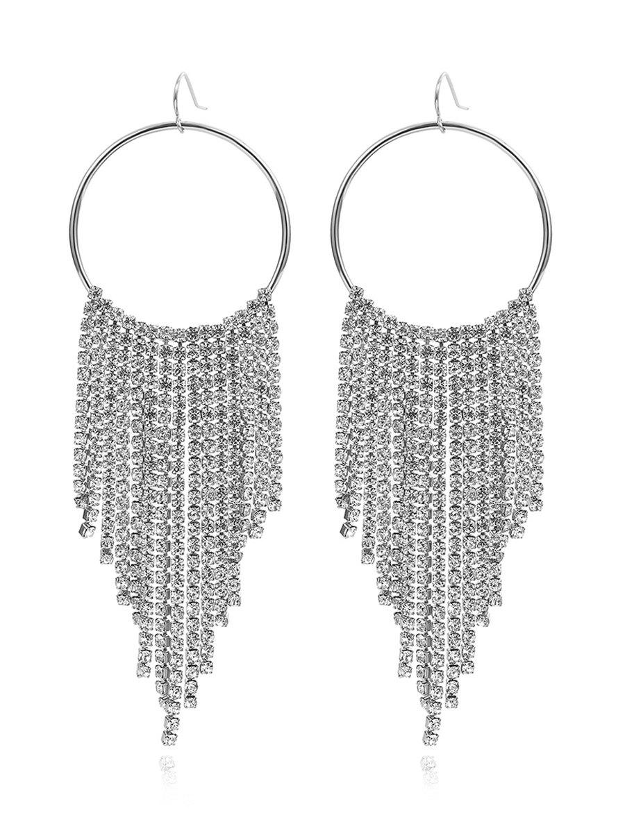 Store Rhinestone Decoration Tassel Dangle Earrings