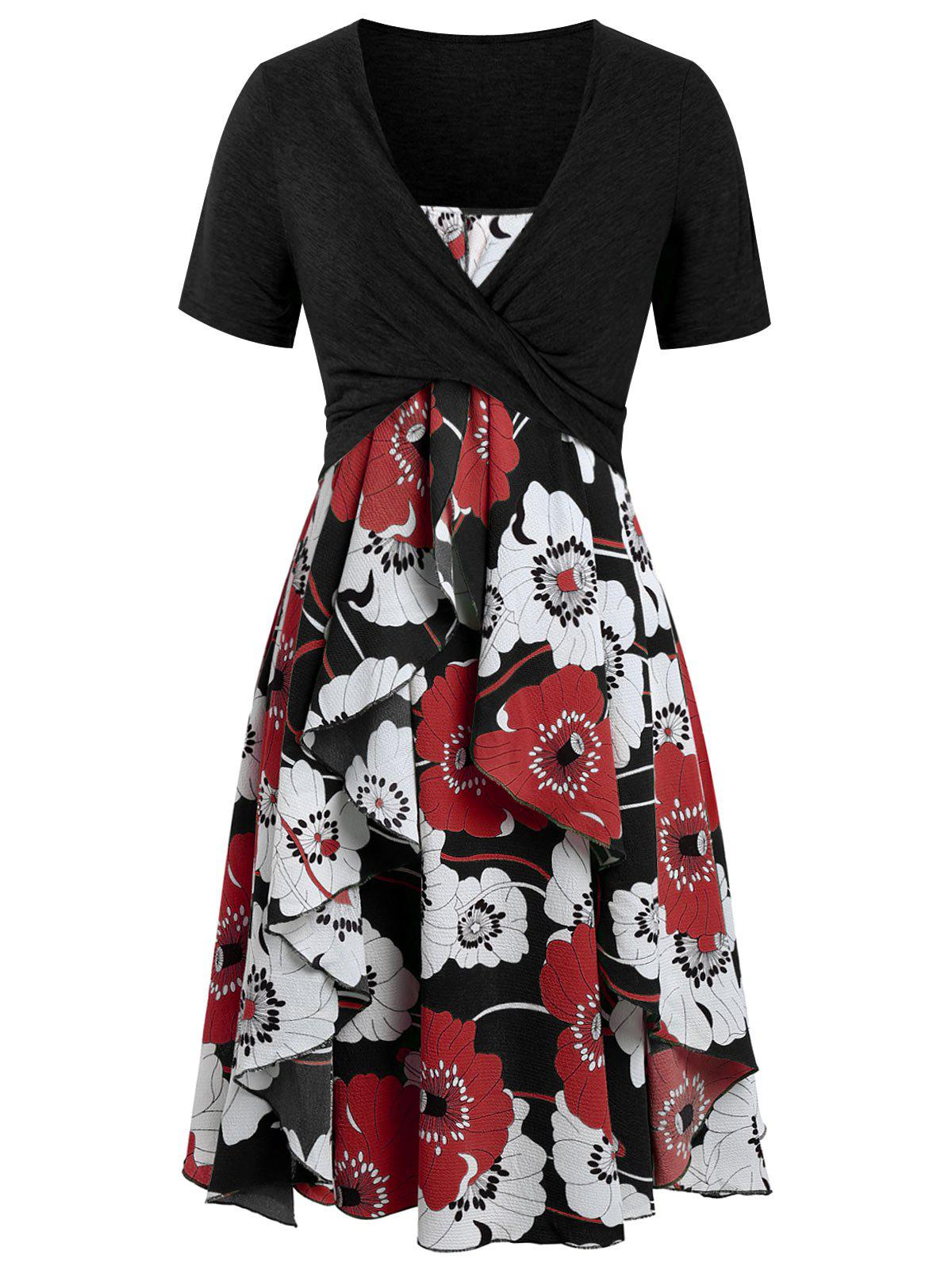 Unique Plus Size Print Layered Midi Dress With Criss Cross Crop Top