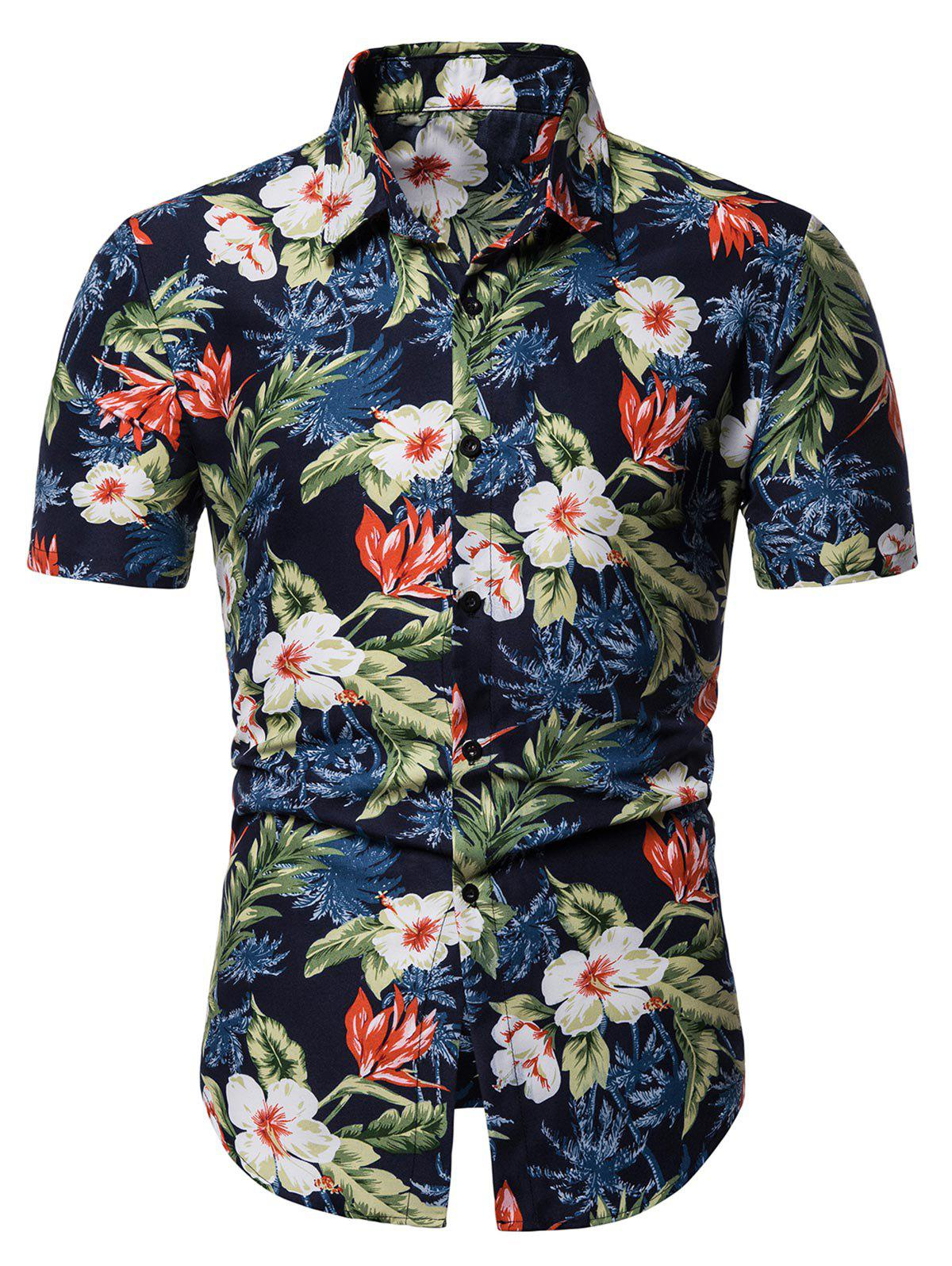 Fancy Flower Print Leisure Short Sleeves Shirt