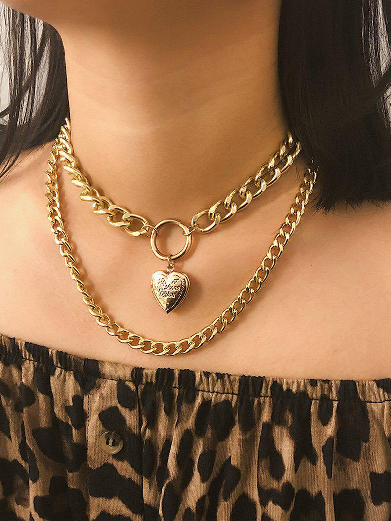 Fancy Link Chain Heart Layers Necklace