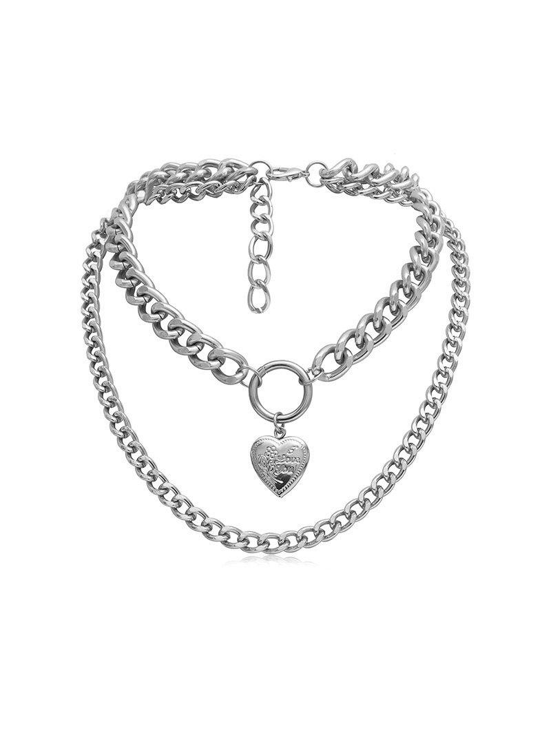 Outfit Link Chain Heart Layers Necklace