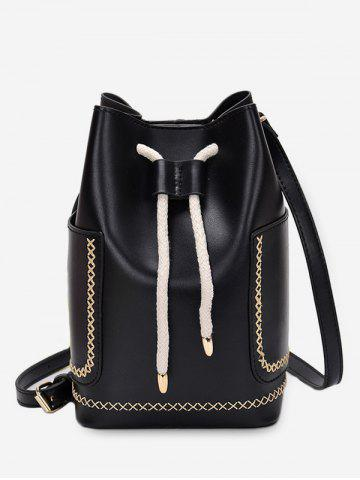 d0f476c9b7 Solid Pockets String Bucket Shoulder Bag