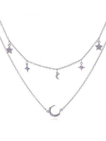 Double Layer Moon Star Chain Necklace