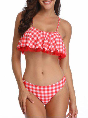 Lace Panel Plaid Padded Bikini Set