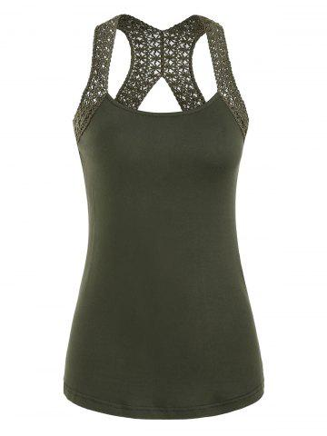 Solid Cut Out Racerback Tank Top