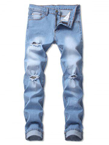 Casual Ripped Design Flanging Jeans