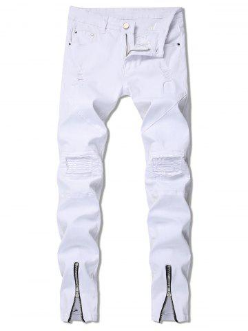 Zipper Decoration Ripped Leisure Jeans