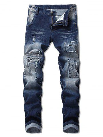 Patchworks Design Ripped Jeans