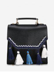 Simple Lace Tassel Leather Backpack -