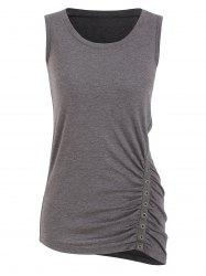 Round Collar Solid Tunic Tank Top -