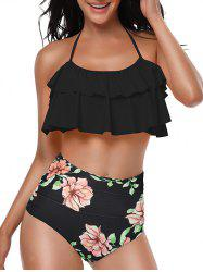 Floral Print Knotted Back Overlay Bikini Set -