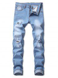 Casual Ripped Design Flanging Jeans -