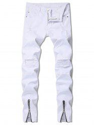 Zipper Decoration Ripped Leisure Jeans -
