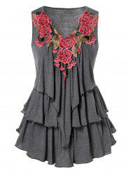 Embroidered Layered Plus Size Tank Top -