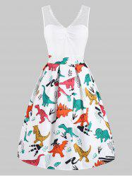 Dinosaur Print Lace Panel Vintage Dress -
