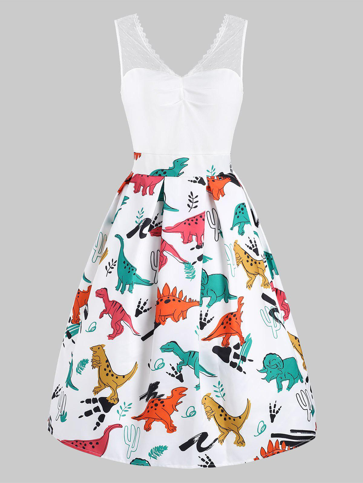 Affordable Dinosaur Print Lace Panel Vintage Dress