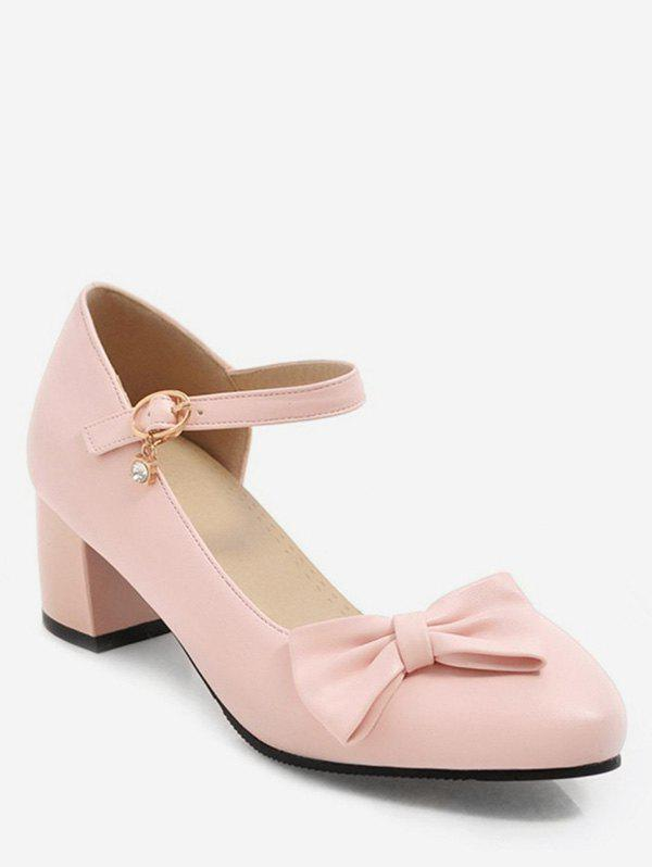 Outfits Bowknot Side Cut Chunky Heel Pumps