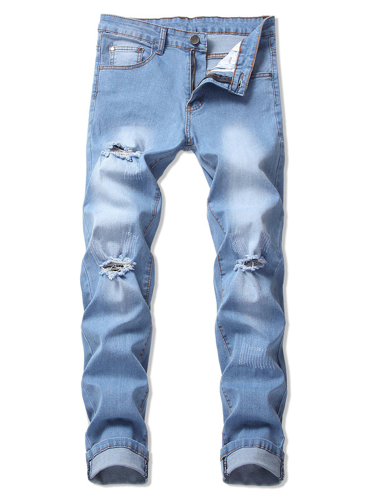 Unique Casual Ripped Design Flanging Jeans
