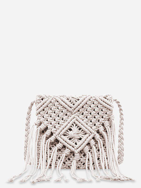 Fancy String Weaving Tassel Shoulder Bag