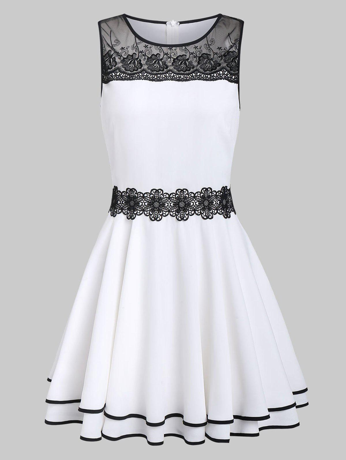 Discount Zippered Lace Panel Two Tone Dress