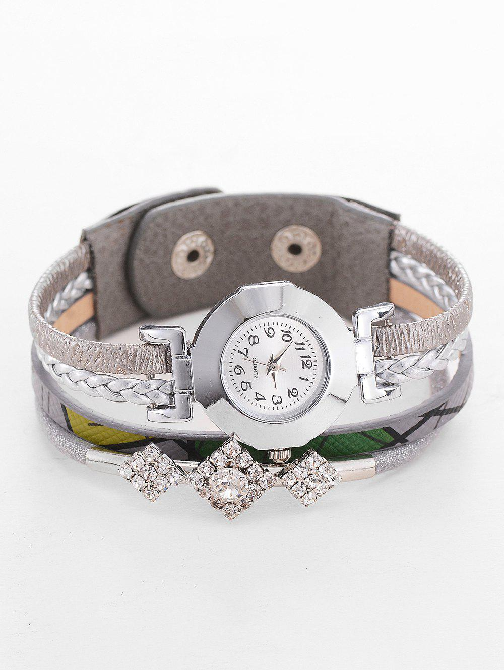 Unique Geometric Rhinestone Wrap Bracelet Watch