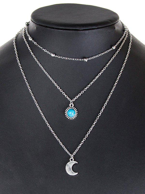 Layered Moon Faux Turquoise Necklace, Silver