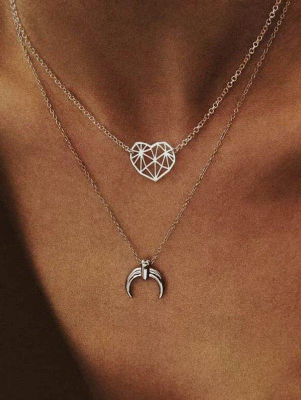 Layered Moon Heart Chain Necklace, Silver