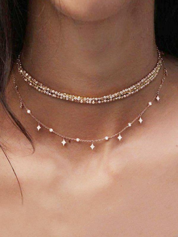 Layered Chain Choker Necklace, Gold
