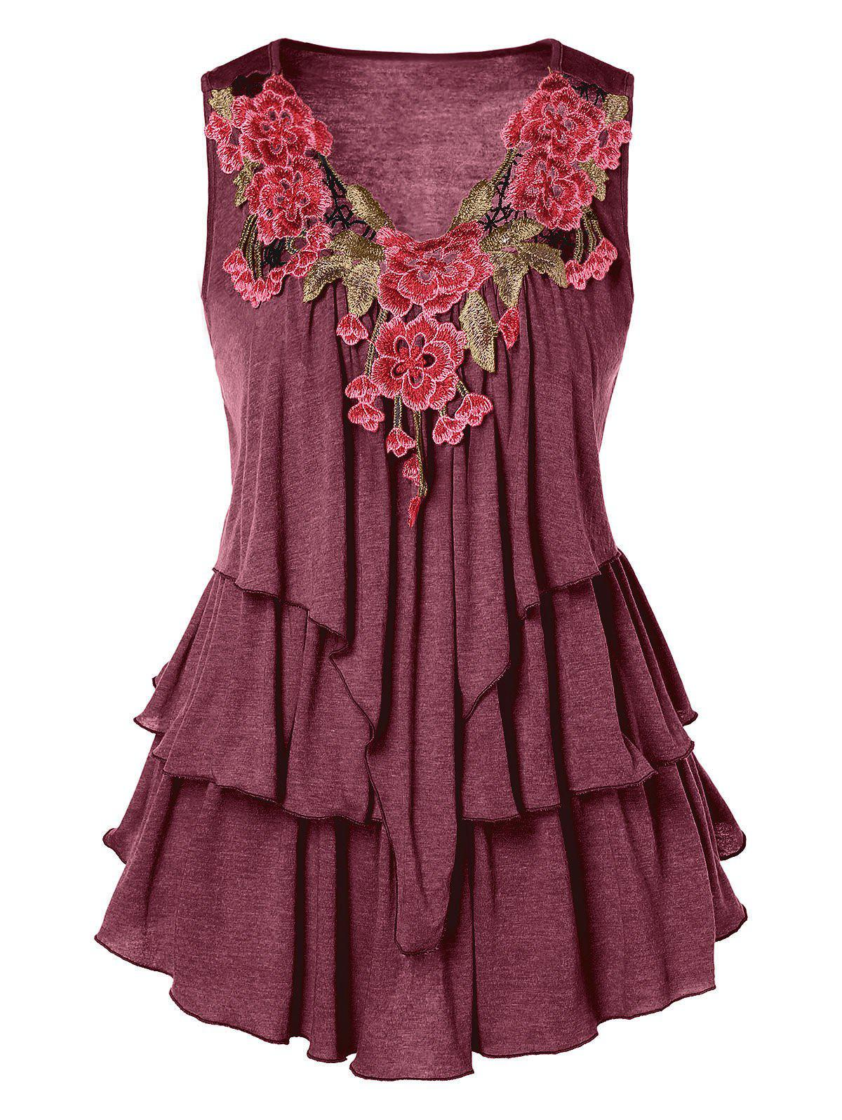 Embroidered Layered Plus Size Tank Top