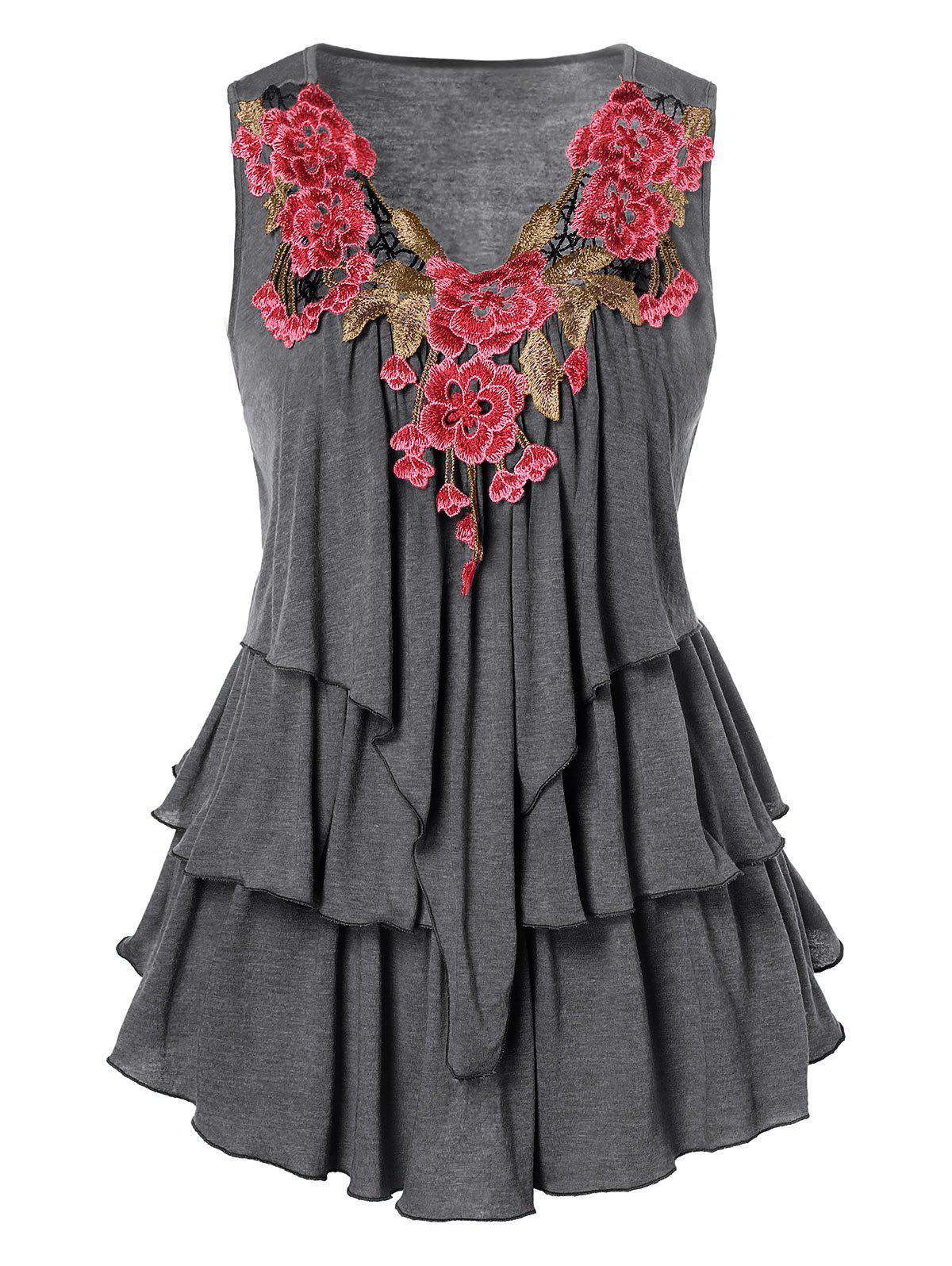 Hot Embroidered Layered Plus Size Tank Top