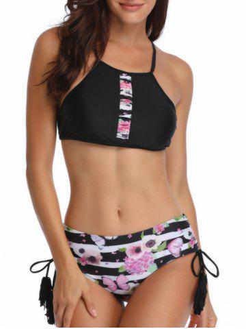 Striped Floral Print Ruched Bikini Set