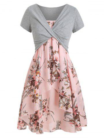Cami Flower Dress with Crop T-shirt