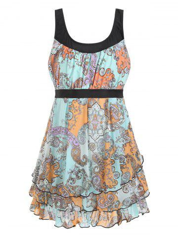 Paisley Print Plus Size Layered Ruffle Tankini Set