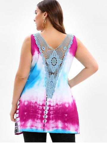Lace Panel Tie Dye Plus Size Tank Top
