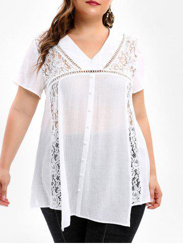 Plus Size Lace Panel See Through Blouse - MILK WHITE - L
