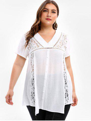 Plus Size Lace Panel See Through Blouse