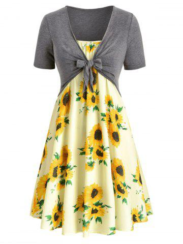 Plus Size Sunflower Print Knotted Two Piece Dress - MULTI - 2X
