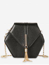 Geometric Shape Tassel Decoration Crossbody Bag -