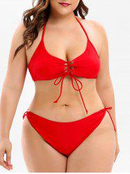 Lace Up Plus Size Halter Neck Bikini Set -