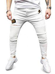 Letter Embroidery Casual Ripped Jeans -