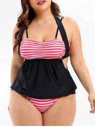 Empire Waist Plus Size Striped Panel Tankini Set -